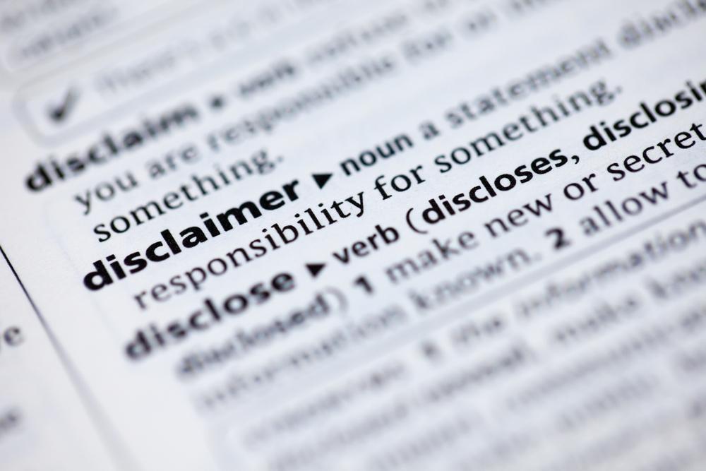 Disclaimer, Haftungsausschluss